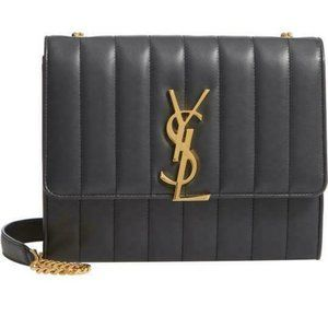 Saint Laurent Vicky Small Wallet On A Chain Black